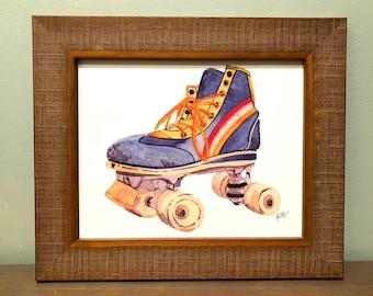 Vintage Roller skate Roller Derby Framed Signed Watercolor Print