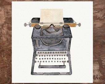 Antique Typewriter Unframed Watercolor Art Print