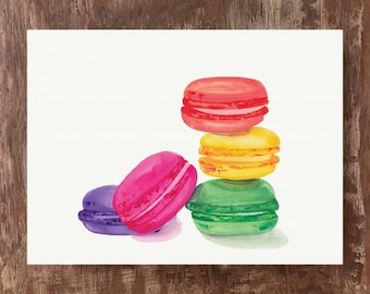 Macarons Painting French Macarons Kitchen Art Unframed Watercolor Art Print