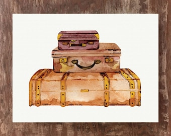 Leather Suitcases Travel Painting Vintage Luggage Art Print