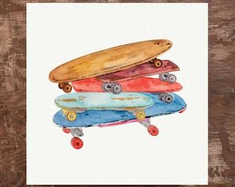 Vintage Skateboards Unframed Watercolor Art Print