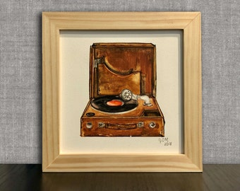 Record Player Art Vinyl Painting Turntable Painting Audiophile Framed Original Watercolor