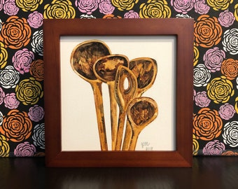 Wooden Spoons Painting Kitchen Chef Baker Foodie Framed Original Watercolor Art Signed Painting on Panel