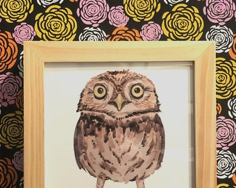 Owl Framed Signed Watercolor Print