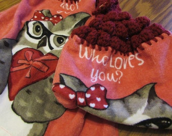 Hanging Kitchen Dish Towels with Crochet Tops Towel Set Red, Pink, Gray, Owls, Owl Handmade