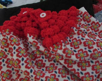 Hanging Kitchen Dish Towels with Crochet Tops Towel Set Handmade Red with Yellow & Blue Flowers