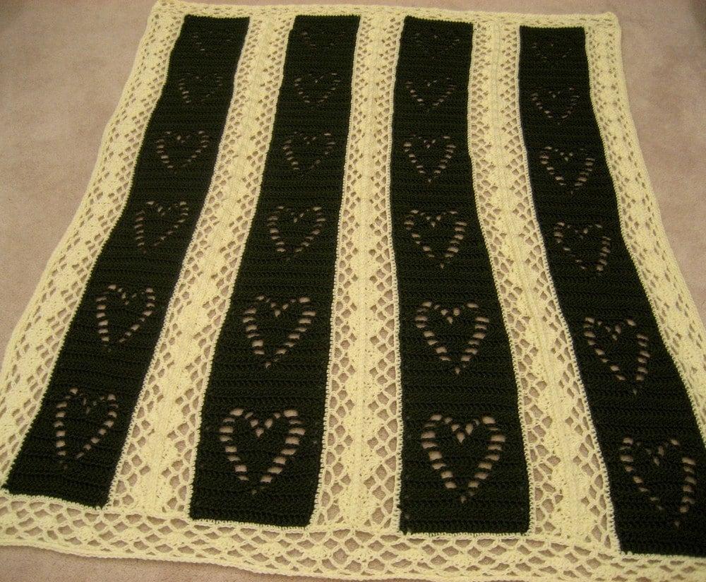 Hearts And Diamonds Crocheted Weddinganniversary Afghan Throw Etsy