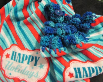 Christmas Hanging Kitchen Dish Towels with Crochet Tops Towel Set Handmade Happy Holidays