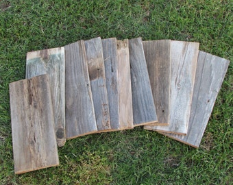 "Reclaimed Old Fence Wood Boards - 6 Fence Boards - 12 Inch Lengths & 6 Boards 18"" length"