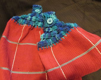 Hanging Kitchen Dish Towels with Crochet Tops Towel Set Handmade Red with Turquoise Blue Stripe