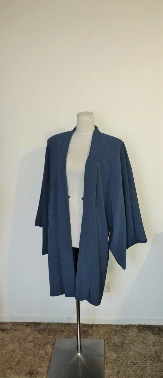 Samurai Blau Grau Haori Lieferbar Stil Groß Herren Kimono Jacke wTZPXOkiu