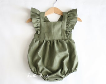 f1e71fa21eea Olive Linen Flutter Romper - Classic Vintage Boho Baby Toddler Girl  Bohemian Christmas Wedding Party Matching Sister Bubble Green