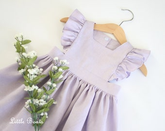 57d1372f14f0 Lilac Linen Pinafore Dress - Classic Vintage Baby Toddler Bohemian Boho  Easter Wedding Party Flower Girl Spring Photo Shoot Lavender Purple