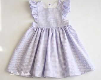 11b5c8c6927de Lavender Gingham Pinafore Dress - Classic Vintage Boho Baby Toddler Girl  Easter Wedding Matching sister Purple Plaid Birthday Photo Shoot