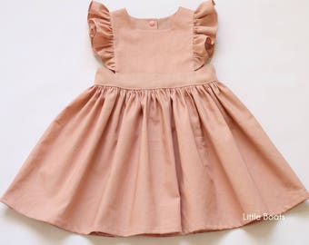 ded2d013c5b2 Rose Linen Pinafore Dress - Dusty Pink Blush Pink Classic Vintage Boho Baby  Toddler Girl Spring Wedding Party Matching Sister Photo shoot