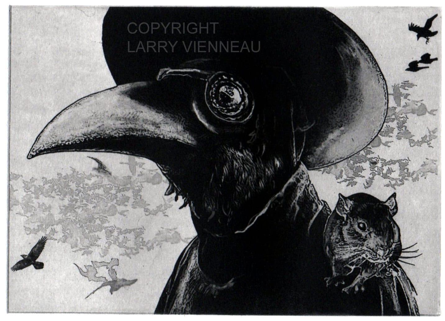 53fbb96df2324 Raven artwork Raven crow Plague Doctor Etching 5 x 7inch | Etsy