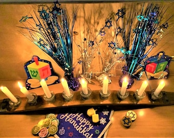 Wooden Wine Barrel Stave Menorah - Wood and Glass Candelabra. Tequila Bottle Tops Taper Candle Holder - Home Decor