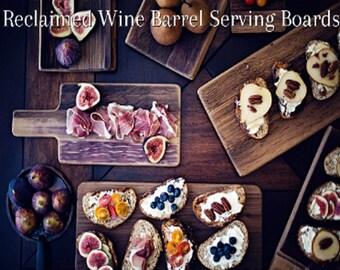 Wine Barrel Serving Trays - Wood Serving Paddle - Barrel Stave Appetizer Platter - Dining Table Serveware