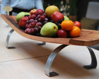 Wine Barrel Stave Serving Board with legs - Handcrafted Wooden Tray - Serving Platter - Wine Board Tray