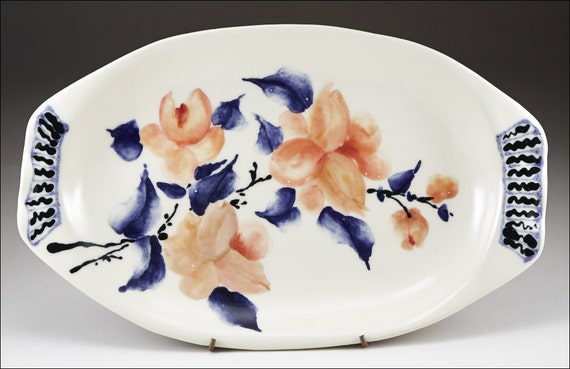 Handmade and Hand Painted by Boris Vitlin Wedding Couple with Flowers Majolica Ceramic Plate