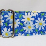 "Martingale Dog Collar Blue with Yellow Daisies Whippet Italian Greyhound Collar 3/4"" 1"" 2"" Martingale Pit Bull Great Dane Girl Dog Cute"