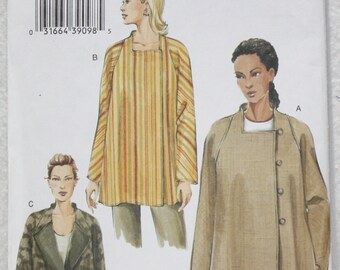 "Sz 8,10,12 Bust 31.5"" - 34"" Very Easy Vogue Sewing Pattern 8007 Loose-fitting Jacket with Asymmetrical Closure"