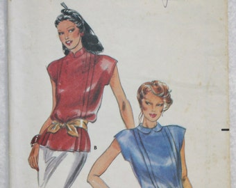 """Sz 8 Bust 31.5""""'s  Vintage Butterick Sewing Pattern 6921 Blouse with Front Tucks and Back Button Peter Pan or Stand Up Collar"""