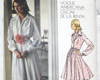 "Sz 14 Bust  - 36"" Vintage 70s Vogue American Designer Sewing Pattern 2880   Oscar de la Renta  Evening or Day Dress Suitable for Knits"