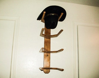 Cowboy Western Hat Rack Wall Mount for 4 Hats Organize Made in Alder Wood  Quality Hand Made Craftsmanship d8954ae1c86b