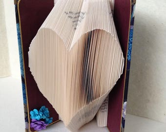 Folded Book Art Heart Oriental Fabric Covered