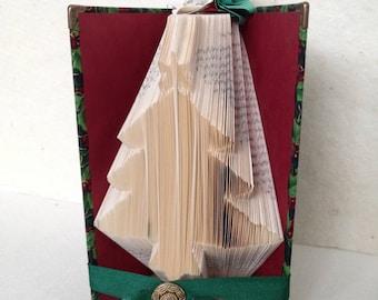 Folded Book Art Christmas Tree Fabric Covered