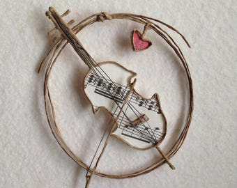 Paper Sculpture Ornament, Cello Made of a Book