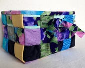 Woven Fabric Basket, Floral Purples, Blues, Greens, Black