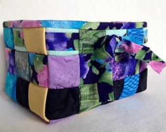 Woven Fabric Basket, Floral Purples, Blues, Greens, Black