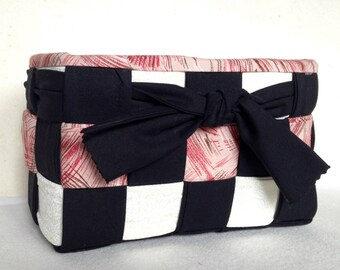 Woven Fabric Basket, Black, White, Touch of Red