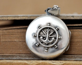 sterling silver anchor locket necklace 7319d7094b76