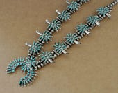 VINTAGE FIND large oversized sterling silver zuni artisan made necklace with needlepoint turquoise stones native jewelry