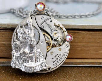 steampunk necklace - ONCE UPON a TIME - antique year 1900s Elgin watch movement necklace with castle and Swarovski pink color rhinestones