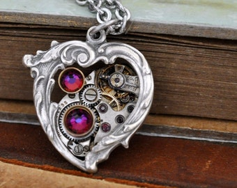 steampunk necklace, In My HEART All the TIME, Victorian style antiqued silver heart necklace with vintage watch movement