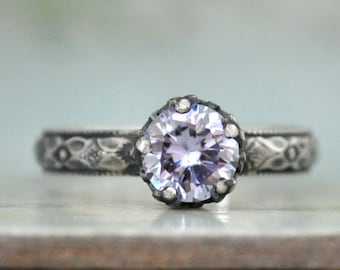 STERLING ALEXANDRITE RING hand made floral band oxidized sterling silver ring with color changing cz Alexandrite stone