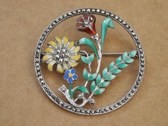Vintage Kunst Deko antik stil bronze blatt und emaille blume halskette