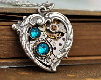 steampunk necklace - In My HEART All the TIME - steam punk Victorian heart necklace with vintage watch movement