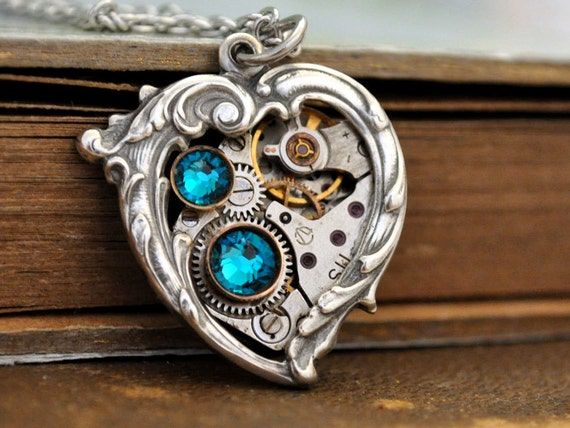 handmade antique silver blue heart