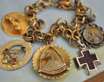 VINTAGE FIND, gold filled charm bracelet