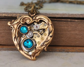 steampunk jewelry - In My HEART All the TIME - steampunk Victorian heart necklace with vintage watch movement antiqued brass