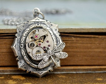 steampunk jewelry - TIME TRAVELER - antiqued silver steampunk watch movement necklace with tiny dragonfly
