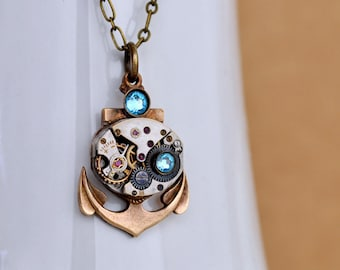 steampunk jewelry TIME To SET SAILS antique pocket watch movement necklace and vintage solid brass anchor charm