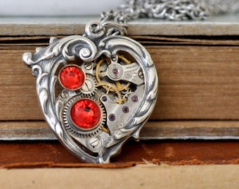 Red heart necklace, steampunk jewelry, Valentine Jewelry, In My HEART All the TIME,  Victorian heart necklace, ruby red heart charm, love h