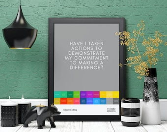 Today I'm Asking Myself, DIGITAL PDF, thoughtful posters for self reflection, PRINTABLE