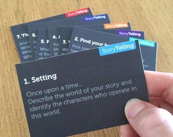 Hero's Journey DIGITAL PDF for storytelling, prompt cards (1 file) and worksheet (1 file) PRINTABLE